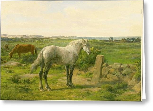 Horses Near The Seaside Greeting Card by Rosa Bonheur
