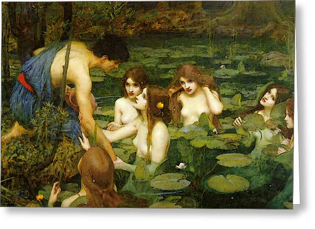 Hylas And The Nymphs Greeting Card by John William Waterhouse