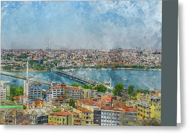 Istanbul Turkey Cityscape Digital Watercolor On Photograph Greeting Card by Brandon Bourdages