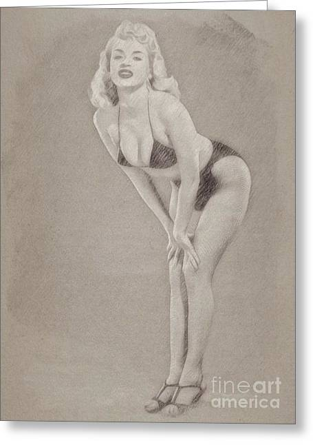 Jayne Mansfield Hollywood Actress And Pinup Greeting Card by Frank Falcon