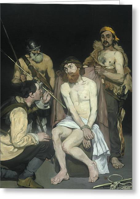 Jesus Mocked By The Soldiers Greeting Card by Edouard Manet