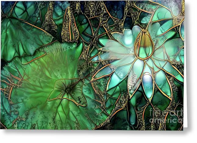 Jeweled Water Lilies Greeting Card by Amy Cicconi