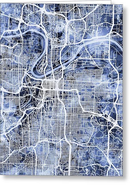 Kansas City Missouri City Map Greeting Card
