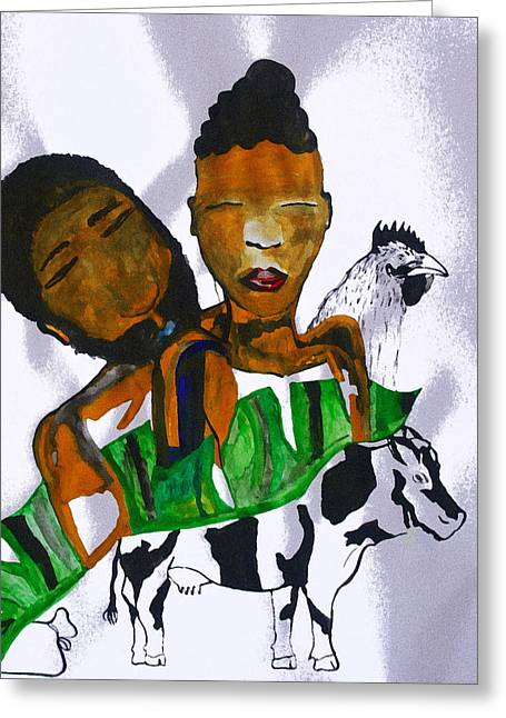 Kintu And Nambi Poster Greeting Card by Gloria Ssali