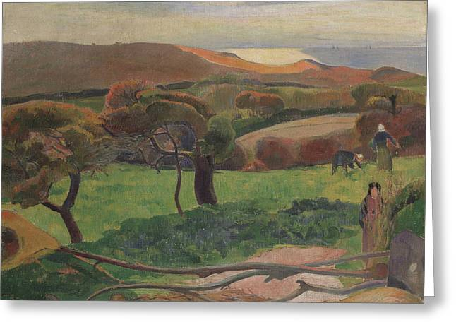 Landscape From Bretagne Greeting Card by Paul Gauguin