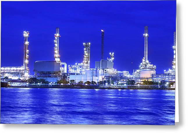 Manufacturing Greeting Cards - Landscape of river and oil refinery factory  Greeting Card by Anek Suwannaphoom