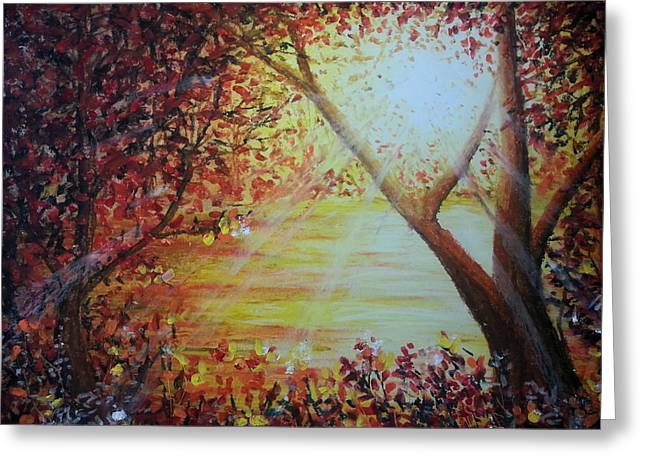 Landscape Painting Greeting Card by MadhuRavi Paintings