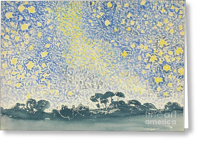 Landscape With Stars Greeting Card by Henri Edmond Cross