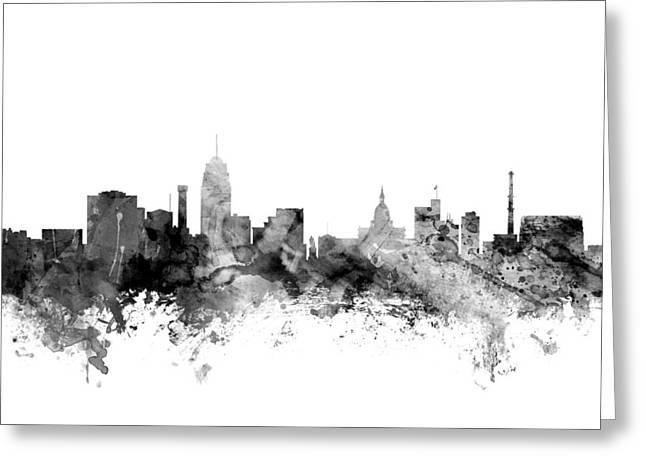 Lansing Michigan Skyline Greeting Card by Michael Tompsett