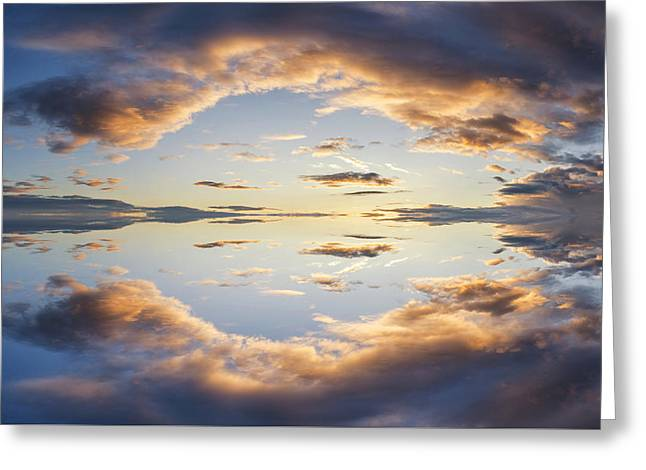 Large Vibrant Panorama Image Of Stormy Sunset Sky With Reflectio Greeting Card
