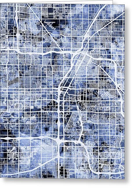 Las Vegas City Street Map Greeting Card by Michael Tompsett