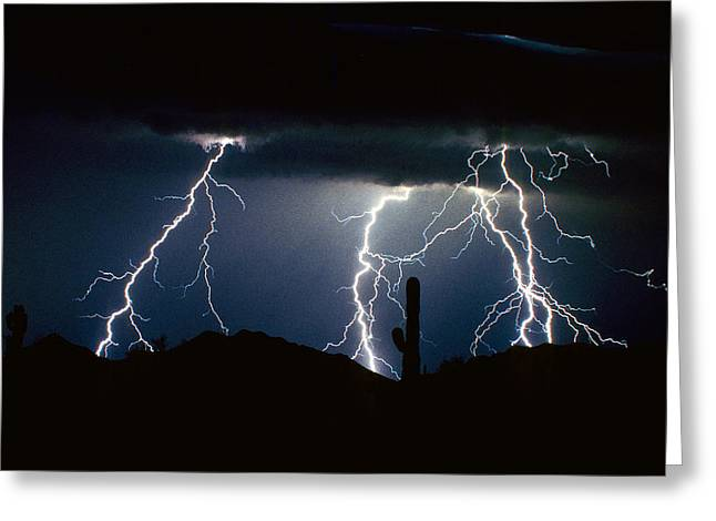 4 Lightning Bolts Fine Art Photography Print Greeting Card