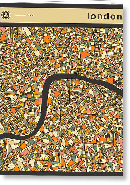 London City Map Greeting Card by Jazzberry Blue