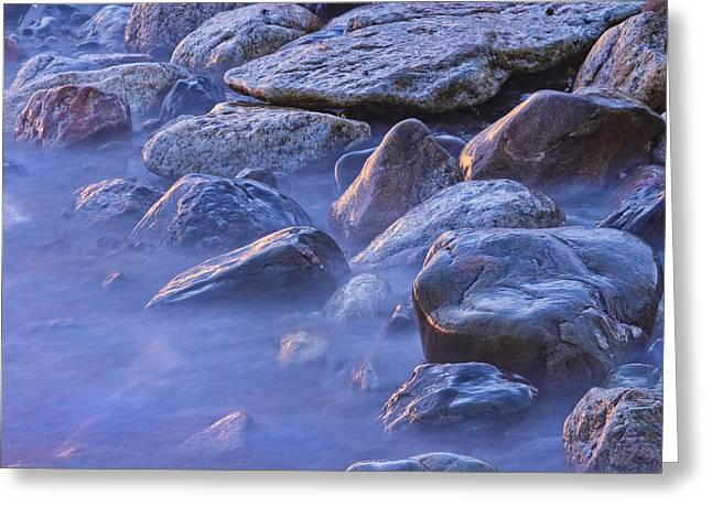 Long Exposure Of Colorful Ocean Waves At Sunset. Greeting Card by Keith Webber Jr