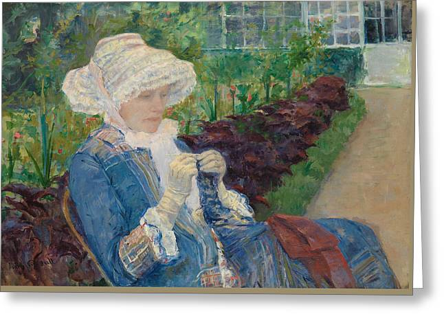 Lydia Crocheting In The Garden At Marly Greeting Card by Mary Cassatt