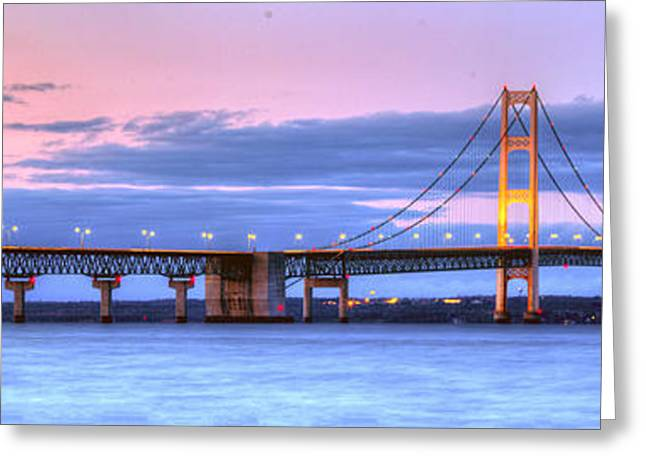 Mackinac Bridge In Evening Greeting Card by Twenty Two North Photography