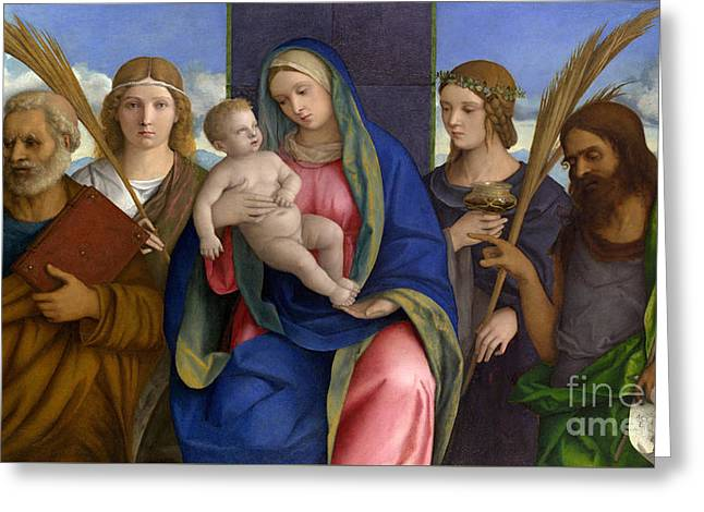 Madonna And Child With Saints Greeting Card by Giovanni Bellini