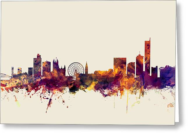 Manchester England Skyline Greeting Card