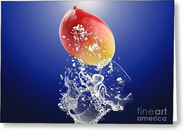 Mango Splash Greeting Card by Marvin Blaine