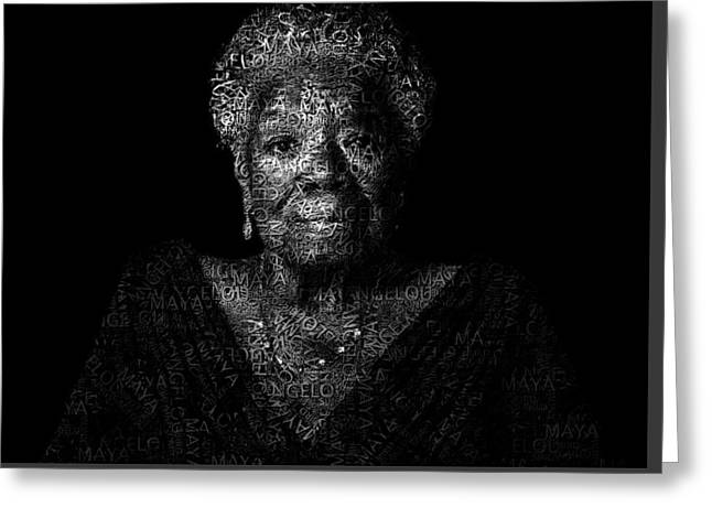 Maya Angelou Text Portrait - Typographic Face Poster With The All Her Book Names Greeting Card by Jose Elias - Sofia Pereira