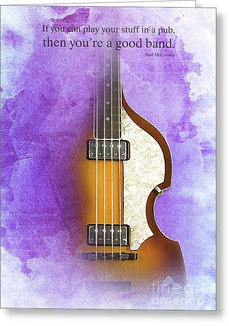 Mccartney Hofner Bass, Vintage Background, Gift For Musicians, Inspirational Quote Greeting Card by Pablo Franchi