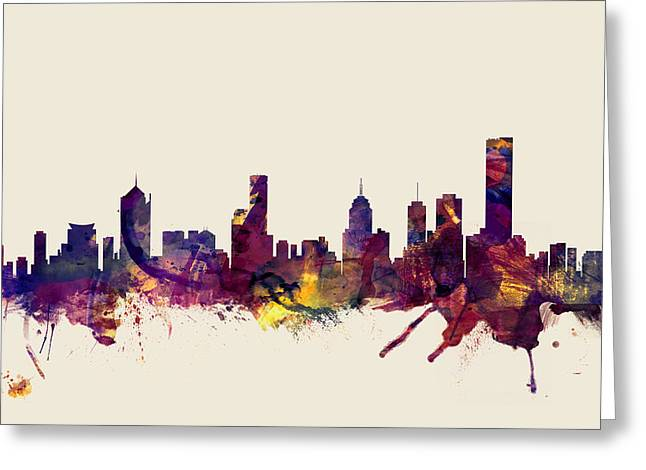 Melbourne Skyline Greeting Card by Michael Tompsett