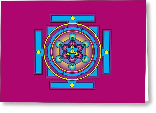 Metatron's Cube Merkaba Mandala Greeting Card by Galactic  Mantra