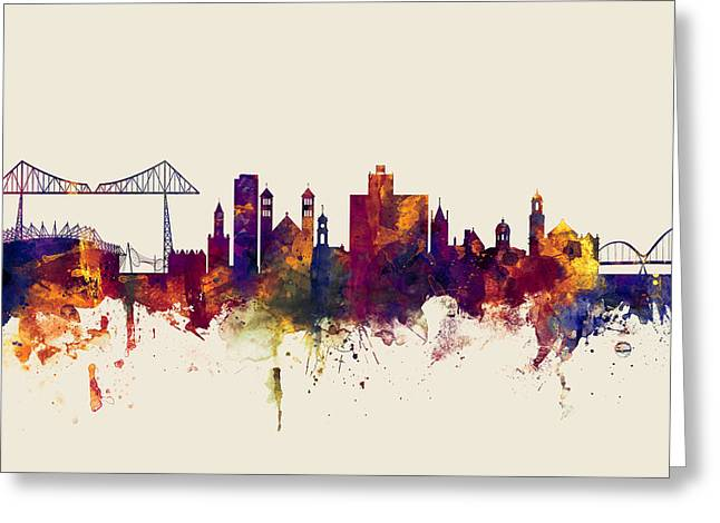 Middlesbrough England Skyline Greeting Card by Michael Tompsett