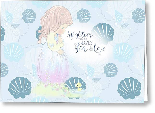 Mightier Than The Waves Greeting Card by Precious Moments