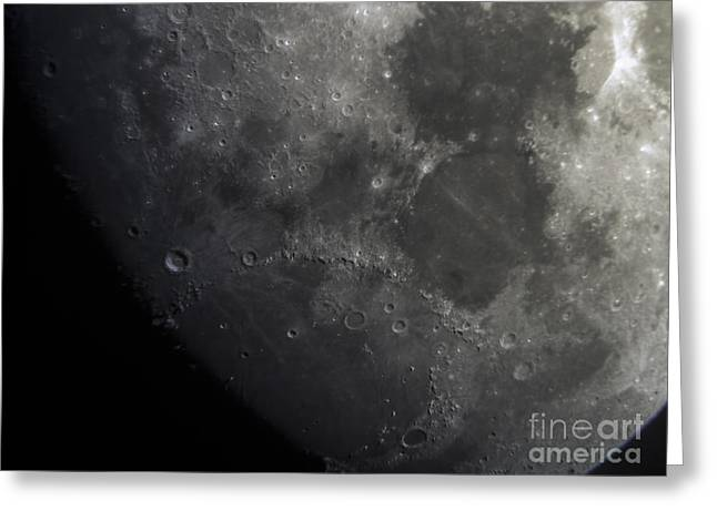 Moon - Close Up Of Craters Lunar Surface Greeting Card by David Oppenheimer