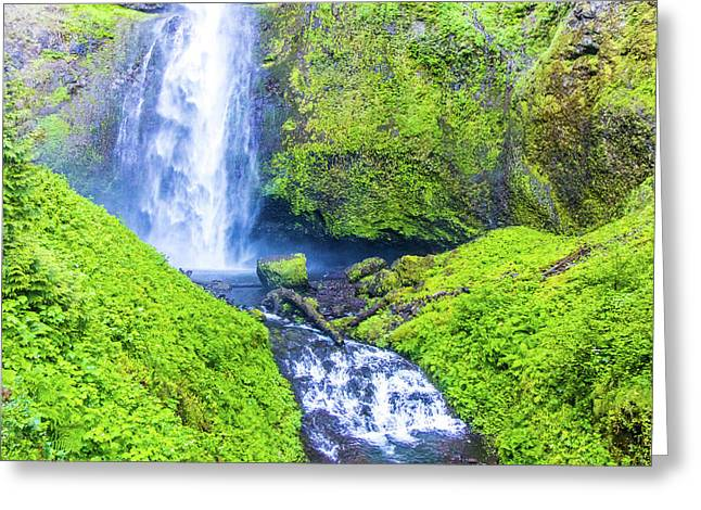 Greeting Card featuring the photograph Multnomah Falls by Jonny D