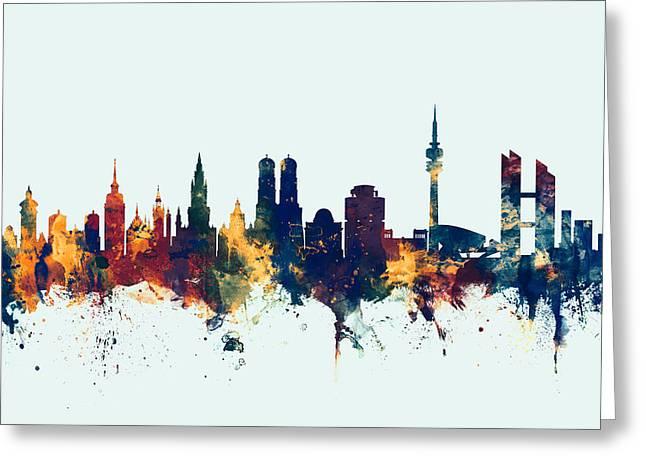 Munich Germany Skyline Greeting Card by Michael Tompsett