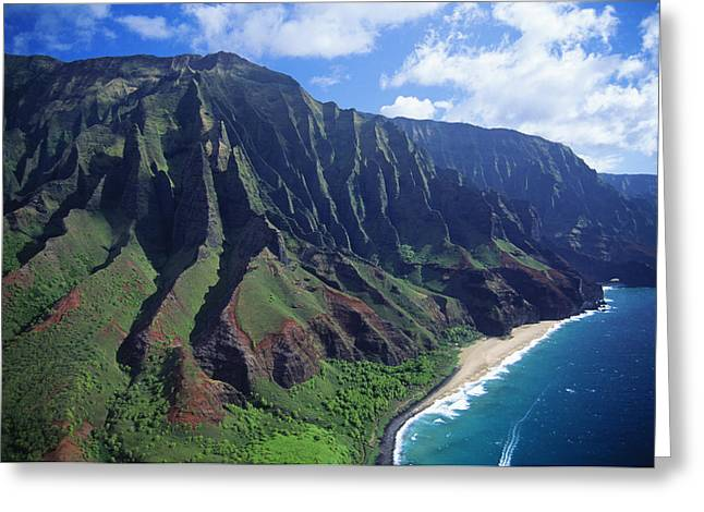 Mountainside Art Greeting Cards - Na Pali Coast Aerial Greeting Card by Bob Abraham - Printscapes