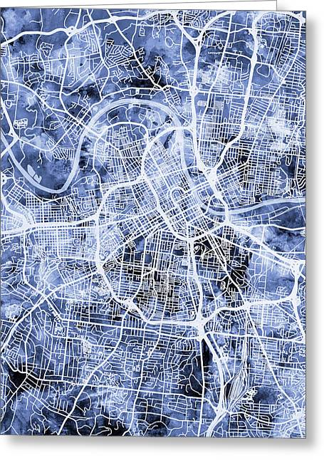 Nashville Tennessee City Map Greeting Card
