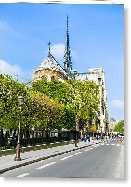 Notre Dame Cathedral Paris Streetside Greeting Card by Nila Newsom