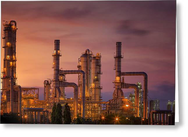 Oil Refinery At Twilight Sky Greeting Card