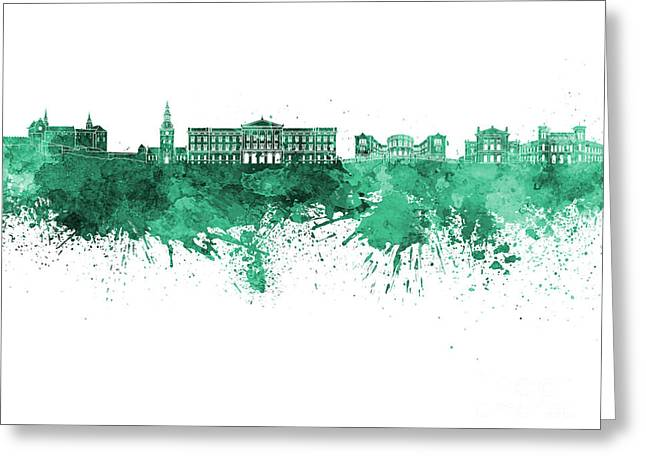 Oslo Skyline In Watercolor Background Greeting Card by Pablo Romero