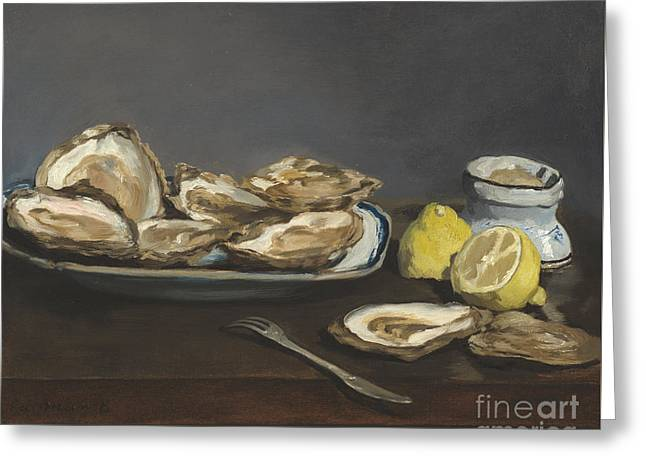 Oysters Greeting Card by Edouard Manet