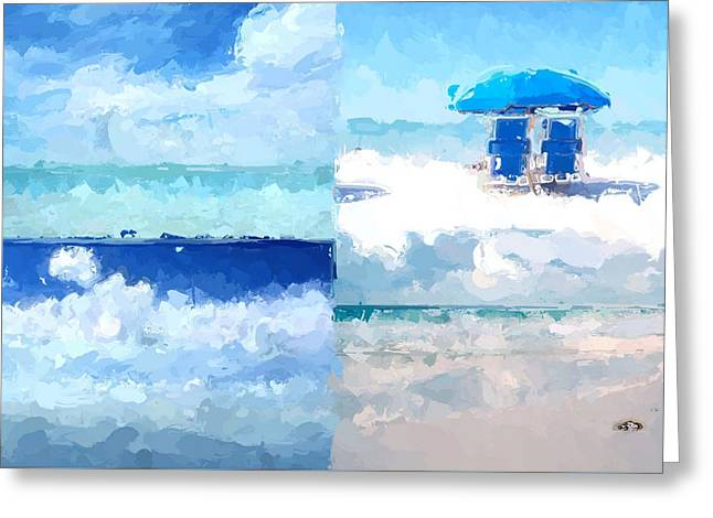4 Panel Abstract Beach 2 Greeting Card