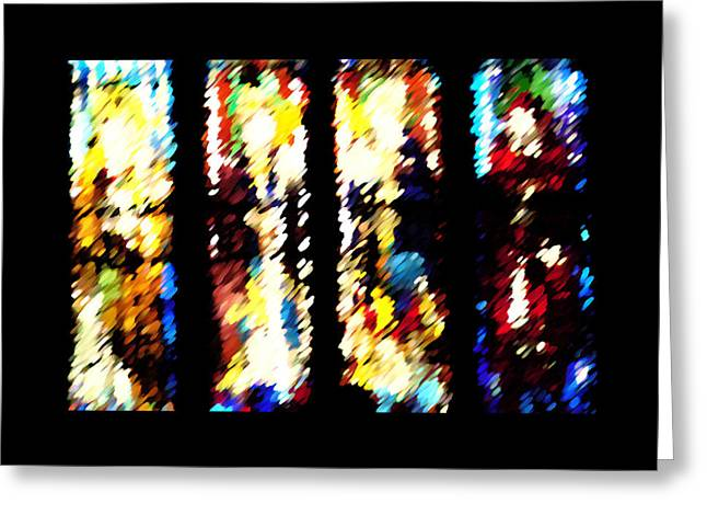 Greeting Card featuring the digital art 4 Panels Of Seville Abstract by Donna Corless