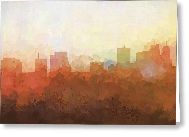 Greeting Card featuring the digital art Parsippany New Jersey Skyline by Marlene Watson