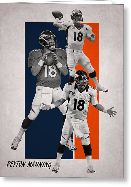 Peyton Manning Denver Broncos Greeting Card by Joe Hamilton