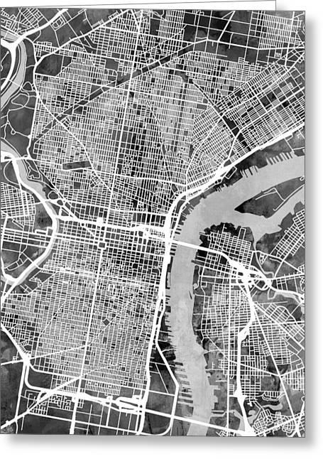 Philadelphia Pennsylvania Street Map Greeting Card
