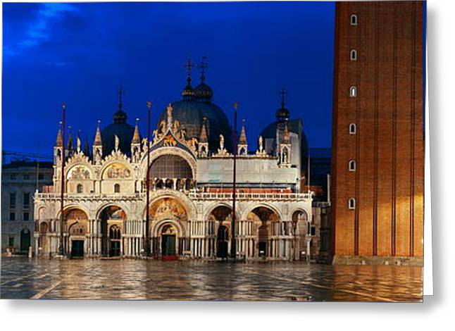Greeting Card featuring the photograph Piazza San Marco Night by Songquan Deng