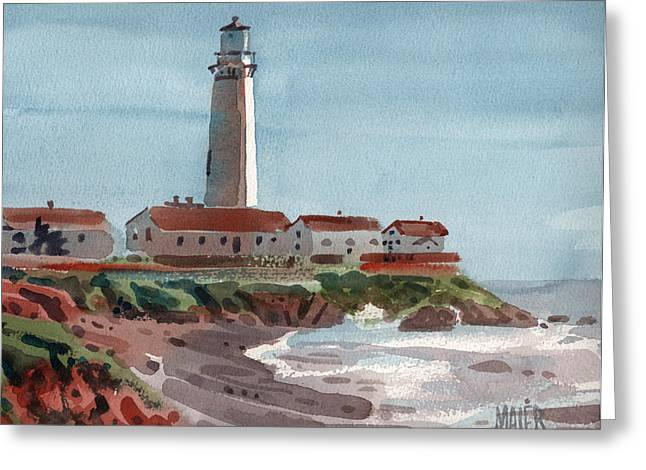 Pigeon Point Light Greeting Card by Donald Maier