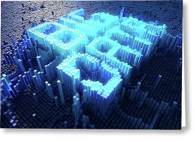 Pixel Big Data Concept Greeting Card by Allan Swart