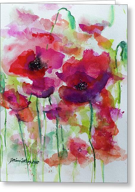 Poppies Greeting Card by Dorina Costras