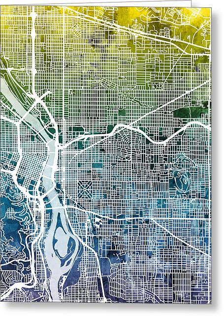 Greeting Card featuring the digital art Portland Oregon City Map by Michael Tompsett