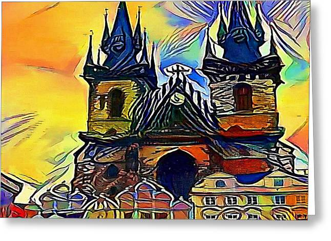 Prague Church - My Www Vikinek-art.com Greeting Card
