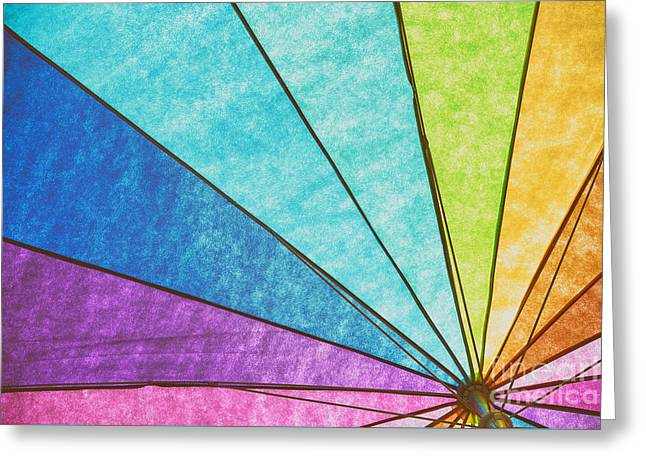 Rainbow Umbrella Abstract Greeting Card